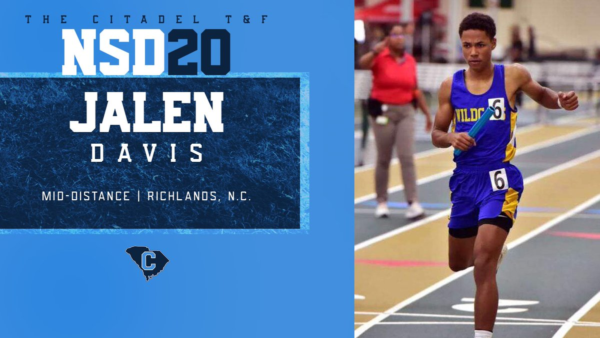 Jalen Davis made it official this morning! Welcome to The Citadel track and field family, Jalen!   #GoDogs | #NSD20 | #CitadelTF https://t.co/RZIcFpr47n