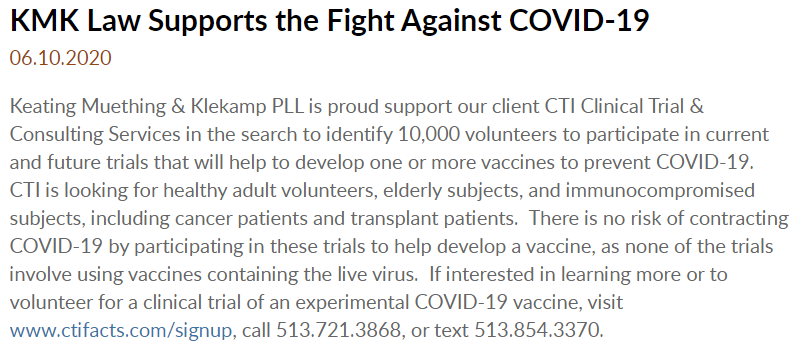 Thank you to @KMKLaw for helping us in our mission to recruit COVID-19 vaccine volunteers! To find out more, visit https://t.co/vAzA0rWmEN https://t.co/H8HrwclKTL