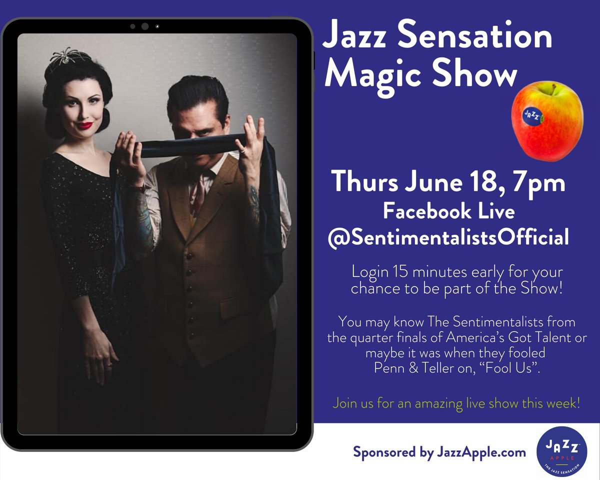 Don't miss this exciting, interactive magical performance via Facebook Live this Thursday, June 18th at 7 pm (ET) with The Sentimentalists, organized by JAZZ apples!  #magic #jazzapples #performance #freshproduce https://t.co/RcSttOzODV