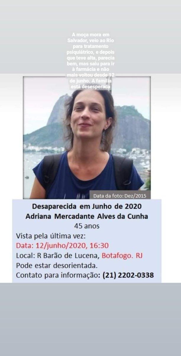 Se alguém tiver notícias, avisar no telefone da foto. A moça mora em Salvador, veio ao Rio para tratamento psiquiátrico, e depois que teve alta, parecia bem, mas saiu para ir à farmácia e não mais voltou desde 12 de junho. A família está desesperada #desaparecida #procurase