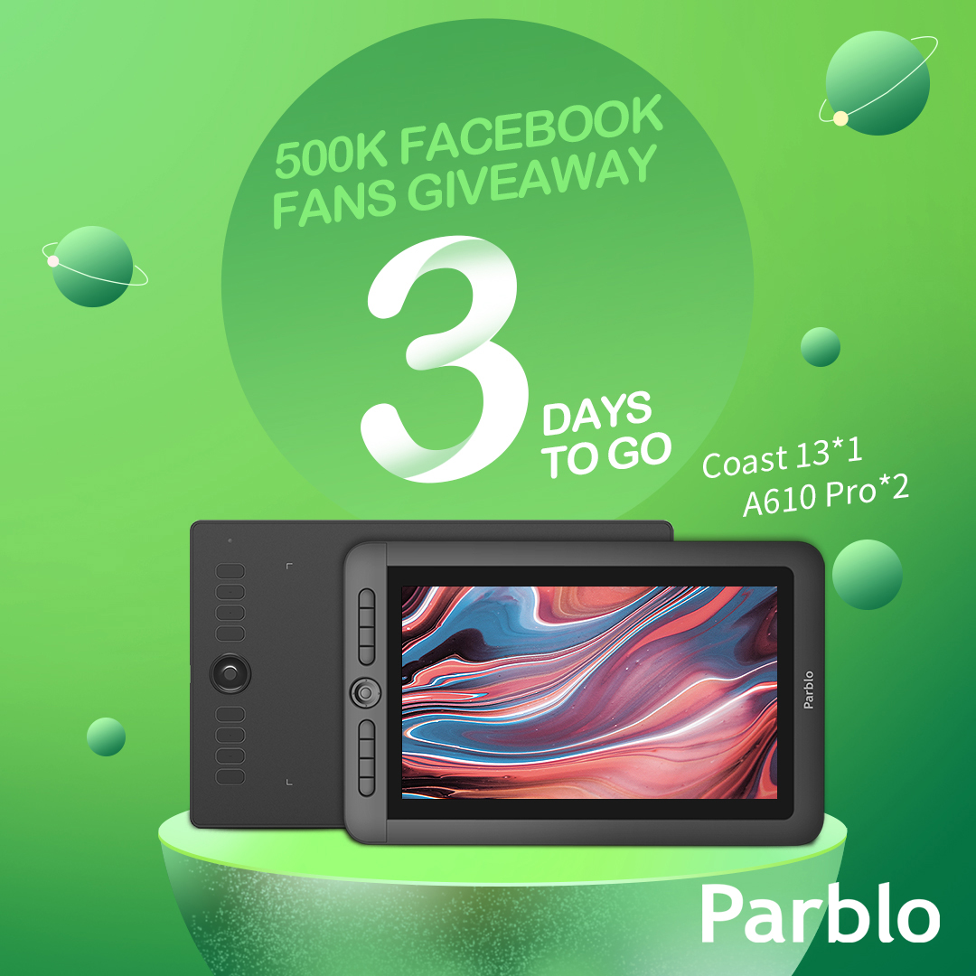 Just 3 days left for 500k Facebook Fans Giveaway by PARBLO. Don't miss your chance to win an amazing Parblo Drawing Tablet!🎉🎉🎉  Click to Enter: https://t.co/jXZV8RSetB https://t.co/zsbB0z9T9w