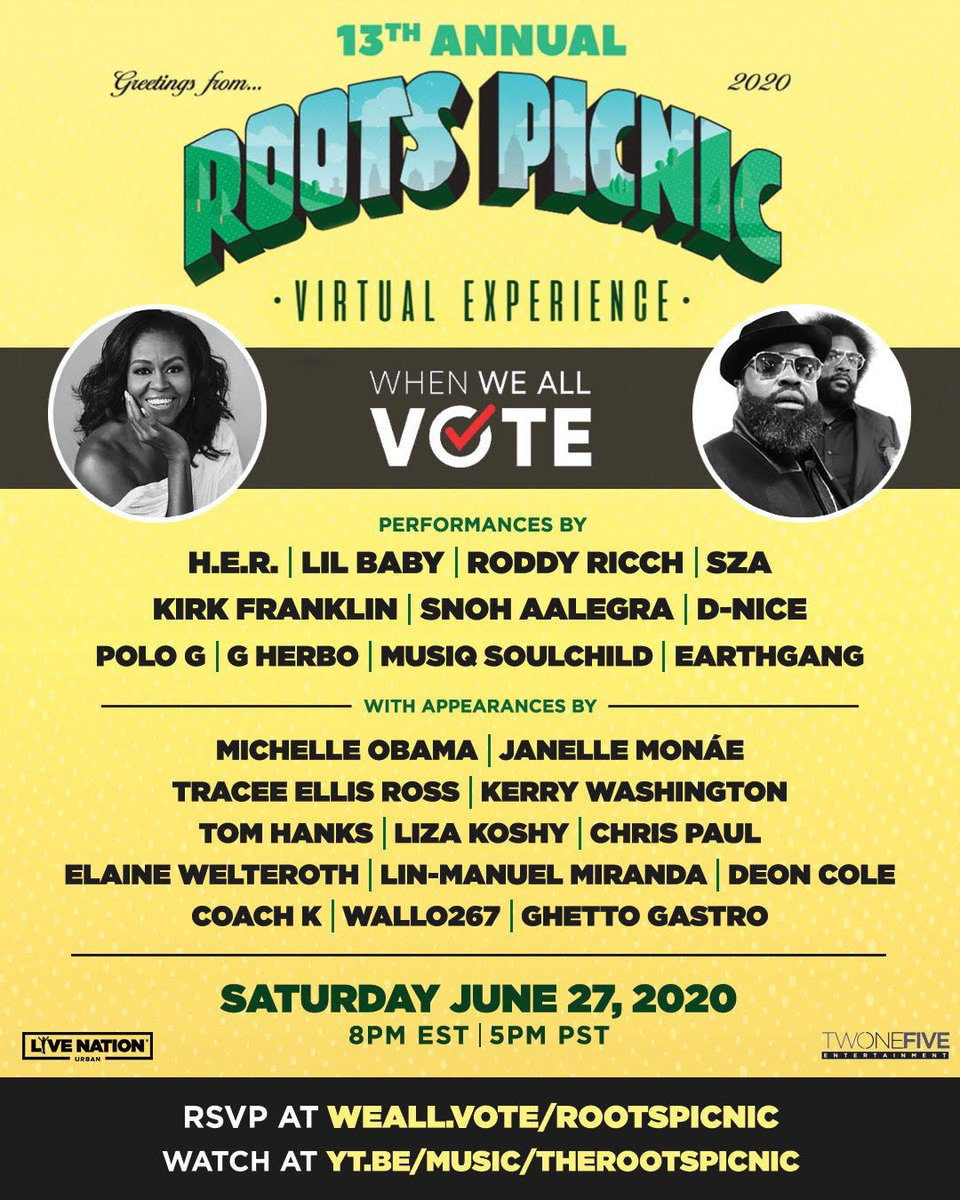 Couldn't be more excited that @whenweallvote is teaming up to co-host @TheRoots Picnic on June 27! Join us and get registered to vote: weall.vote/rootspicnic