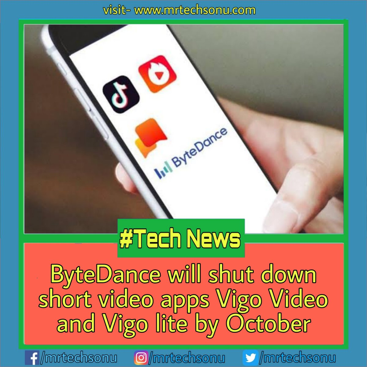 Visit http://mrtechsonu.com for more stuffs like this . ByteDance owns Tik Tok, Vigo and Helo apps. . Hashtag:-#technologyrocks#technologyr#technologylover#technologytrends#instatechnology#remotecontrol#tiktok#technews#techvideos#informationtechnology#technologyartpic.twitter.com/WpFQuFKlex