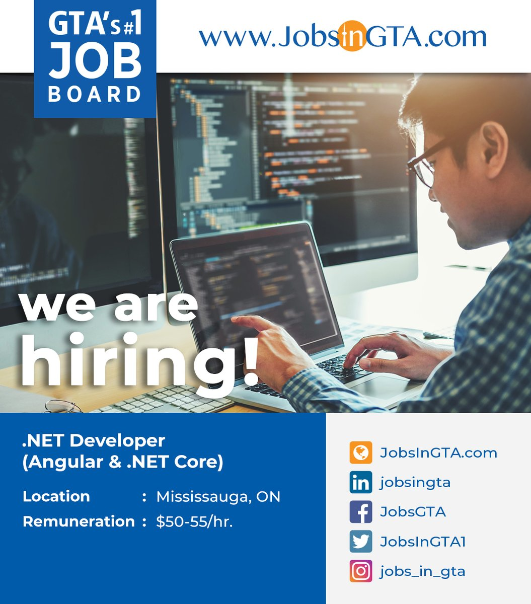 We're hiring ! We're looking for .NET Developer  Apply: https://t.co/M7QPRLt7Mv  #JobsInGTA #WorkFromHome #DeveloperJobs #ITJobs #DreamJob #Vacancy #Hiring #jobs #TorontoJobs #StayHome #StaySafe #TuesdayMotivation #GAOTek #Ontario #GTA #Pickering #Canada https://t.co/AUsellznIK