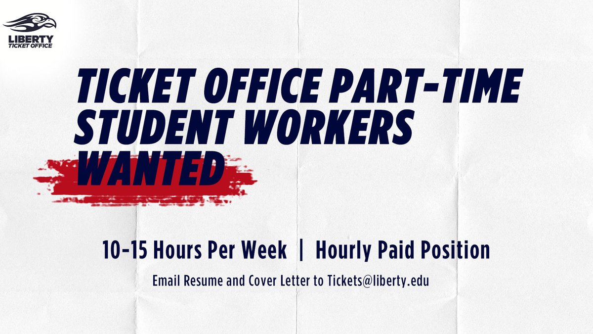 Ever wonder what goes on behind the scenes of Liberty events? Join the Ticket Office to get a look into our University and Athletic events and ticket operations! We are hiring team members for the Fall! Info below: https://t.co/nuIeyMwe68