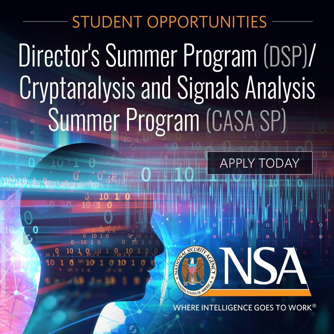 Love solving tough problems? We're looking for outstanding math students to support our national security mission. Put your mathematics and cryptology skills to the test with access to cutting-edge computing resources and classified data. https://t.co/H4f2X0T1BG https://t.co/6I6gGW5BoD