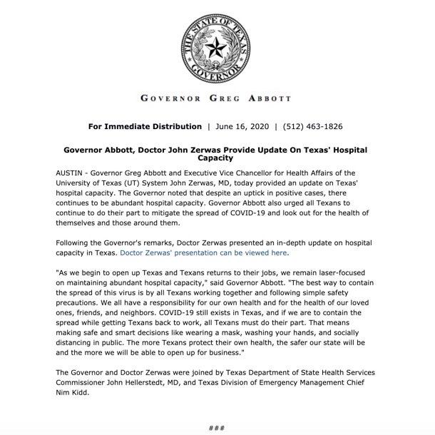 Providing an update on Texas' abundant hospital capacity as the state continues to combat #COVID19. @TexasDSHS @TDEM @TexasHHSC bit.ly/3hxRXHG