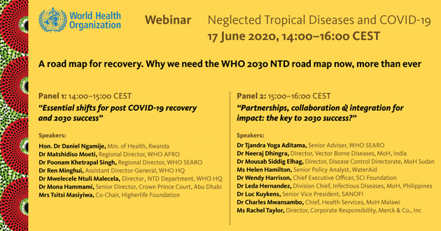 Please join us! @WHO Webinar on Neglected Tropical Diseases and COVID-19 who.int/news-room/even…