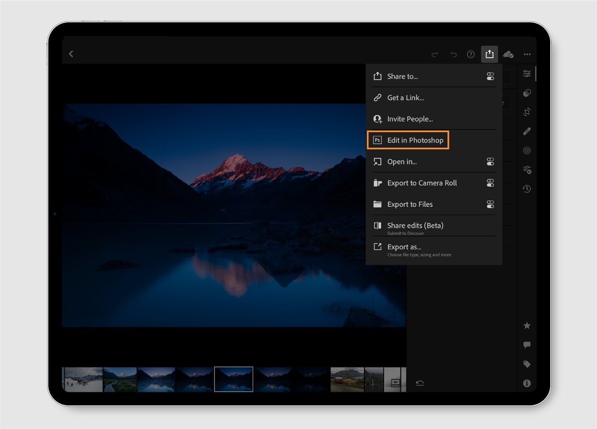 You can now send photos straight from Lightroom to Photoshop on iPad