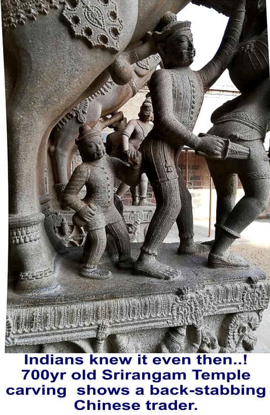 This is very interesting. Look at this sculpture from Srirangam Temple in TN, 700 year old. The sculpture bears the features of a Chinese, ready to backstab. Our ancients knew the Chinese well. @Swamijitweets https://t.co/f312MP9Cju