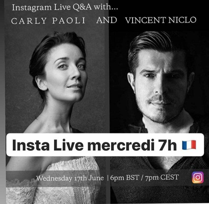 [RAPPEL] @vincentniclo sera ce soir en #InstaLive avec @CarlyPaoli pour parler de leur nouvelle chanson #AmigosParaSiempre. Rendez-vous à 19h sur le compte Instagram de @CarlyPaoli ici ➡️ https://t.co/IaAsFL1BRa https://t.co/nZ4GWS8TtF