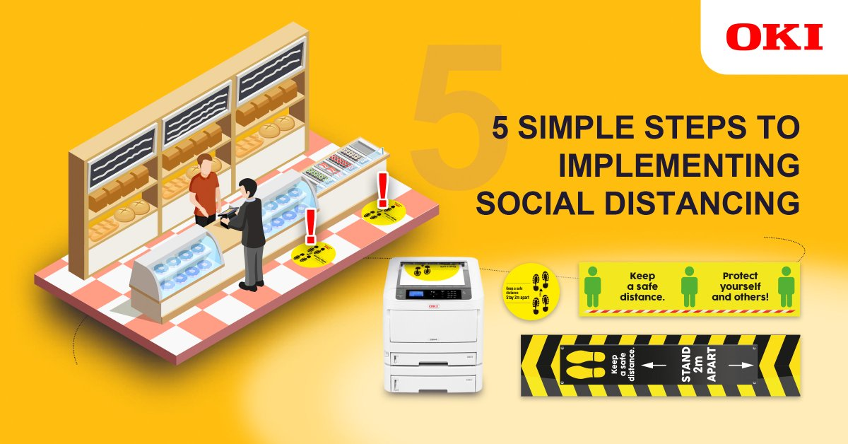 Discover the 5 simple steps to implementing social distancing with our infographic, and find out how OKI's free* #socialdistancing signage and artwork can help your business: https://t.co/jx4tRRSz1s https://t.co/vkSZe7JNsd