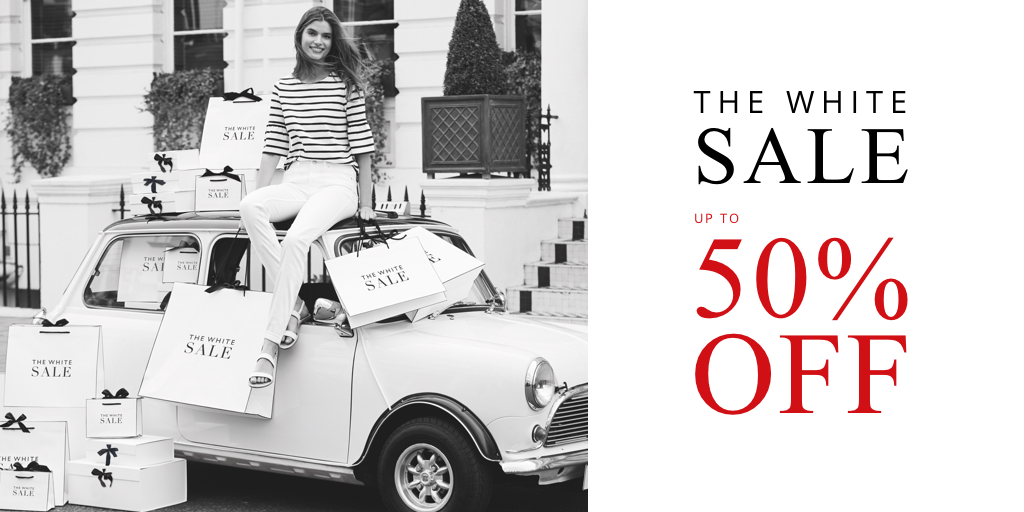 What you've all been waiting for. The White Sale has arrived! Shop a little luxury for less, with up to 50% off https://t.co/oGxenNP49y https://t.co/iyKwM8tROl