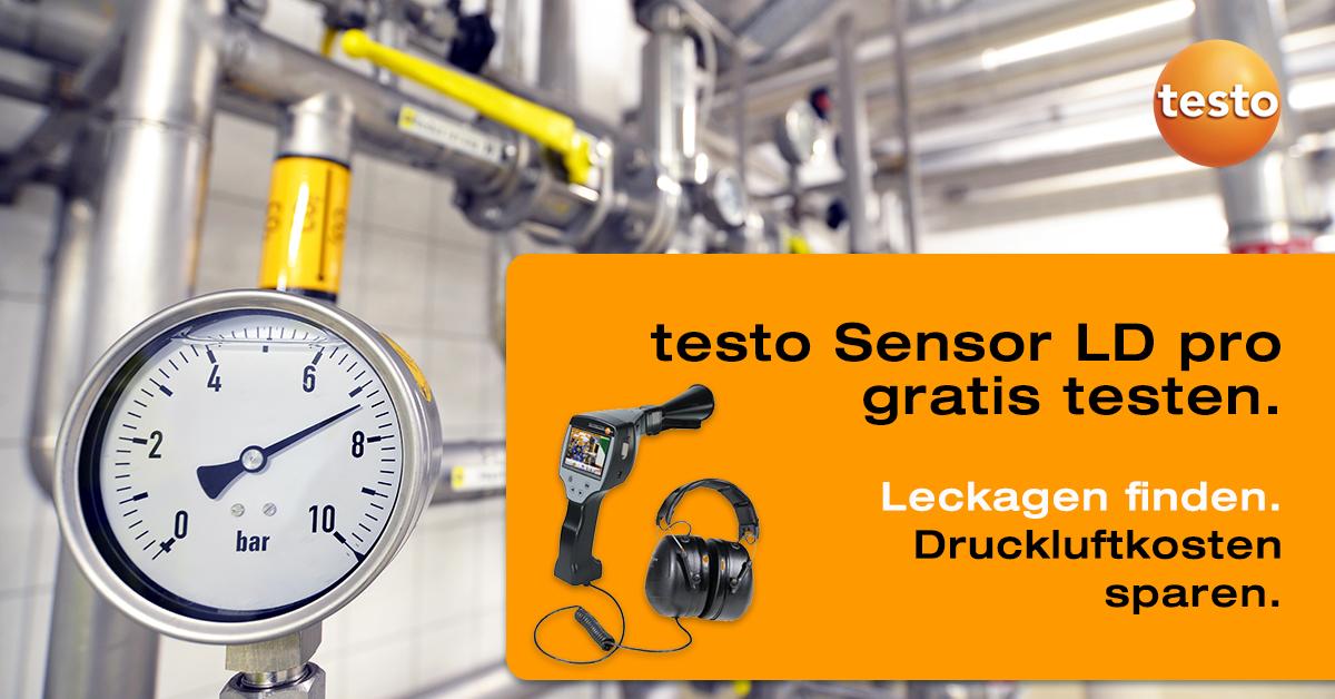 Testen Sie das #Ultraschall-Lecksuchgerät #testo Sensor LD pro bis zu 4 Wochen unverbindlich und kostenlos an Ihrer #Druckluftanlage vor Ort! Schnell sein lohnt sich, das Angebot ist begrenzt. ▶ https://t.co/mwokShYOVS https://t.co/4oXygfAo6v