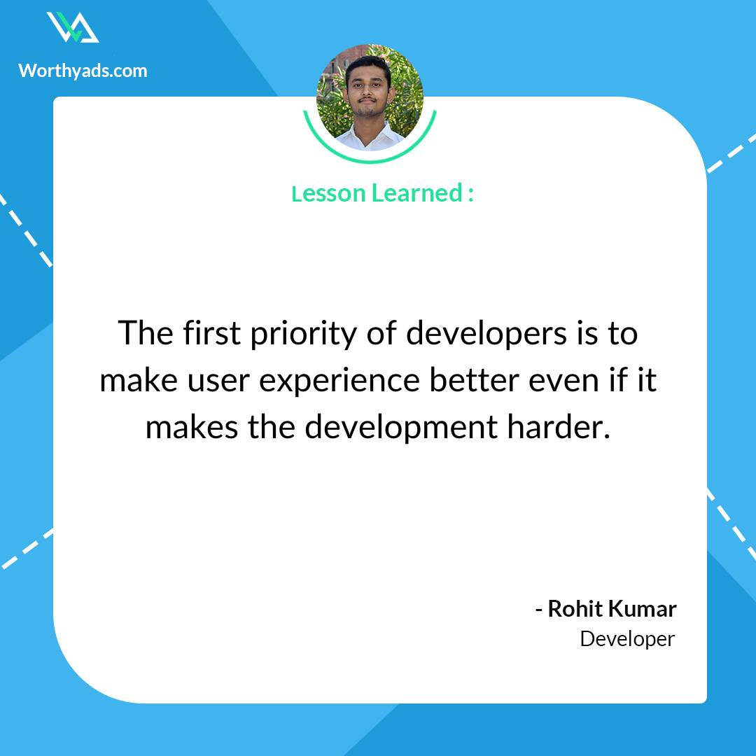 The first priority of developers is to make user experience better even if it makes the developement harder. .  #developer #developerlife #developers #developerspace #webdeveloper #softwaredeveloper #developerstuff #developerdiaries #hardcode #androiddeveloper #worthyads .<br>http://pic.twitter.com/rKxCy3HbLb