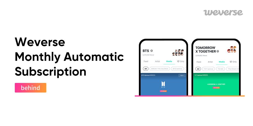 Watching awesome content is now easier with the automatic monthly subscription! Get unlimited access to behind-the-scenes images and videos with BTS behind or TXT behind subscription! BTS behind 👉weverse.onelink.me/qt3S/de124e94 TXT behind 👉weverse.onelink.me/qt3S/aa7a0199