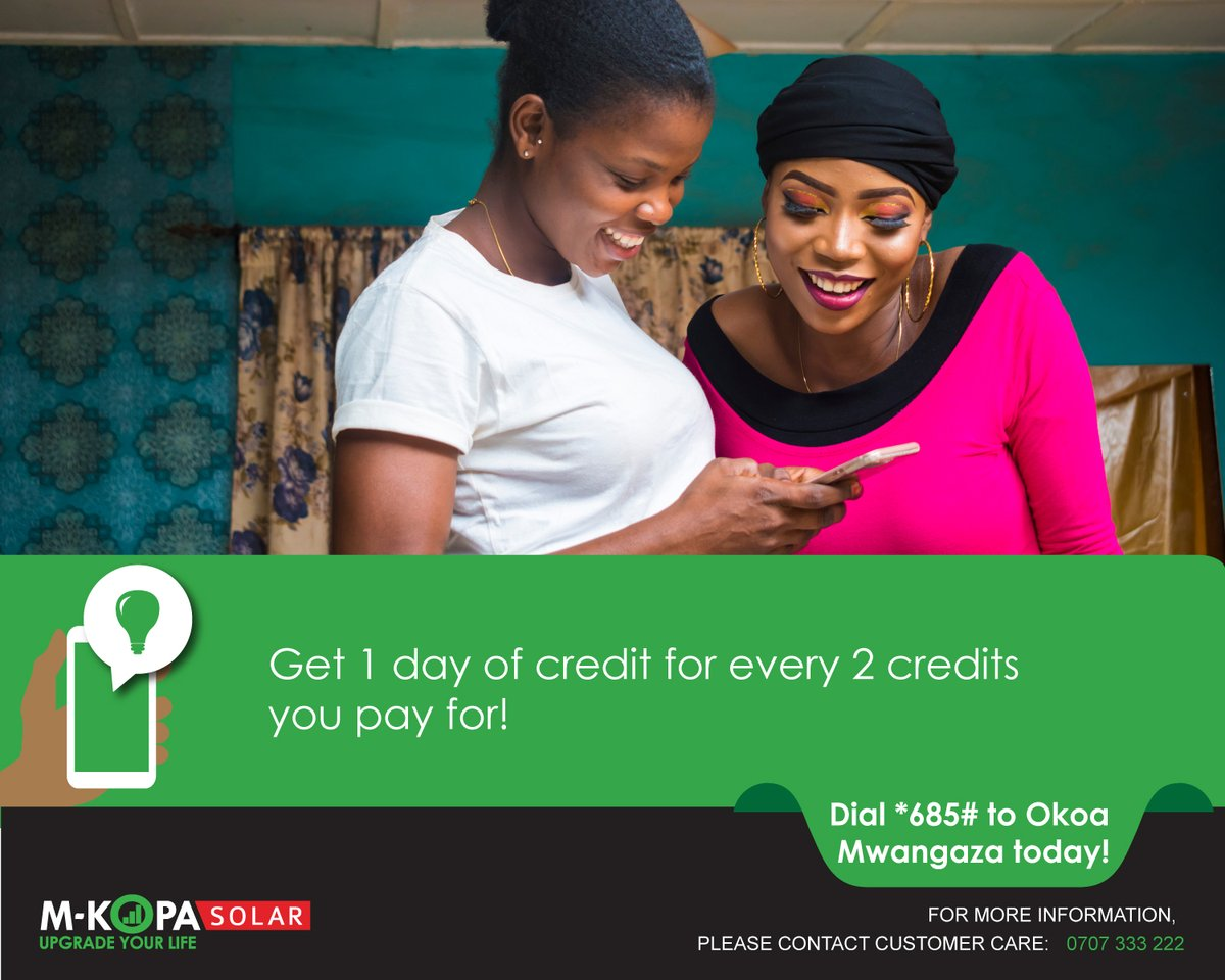 Light up your nights and spend more time with your family even when low on cash. For every 2 days of M-KOPA credits you buy, you qualify for 1 day of OKOA credit. Simply dial *685# today. See more here: https://t.co/Wrkp5ZOSJZ #OKOAMwangaza #StaySafe https://t.co/4ezUf9Osx5