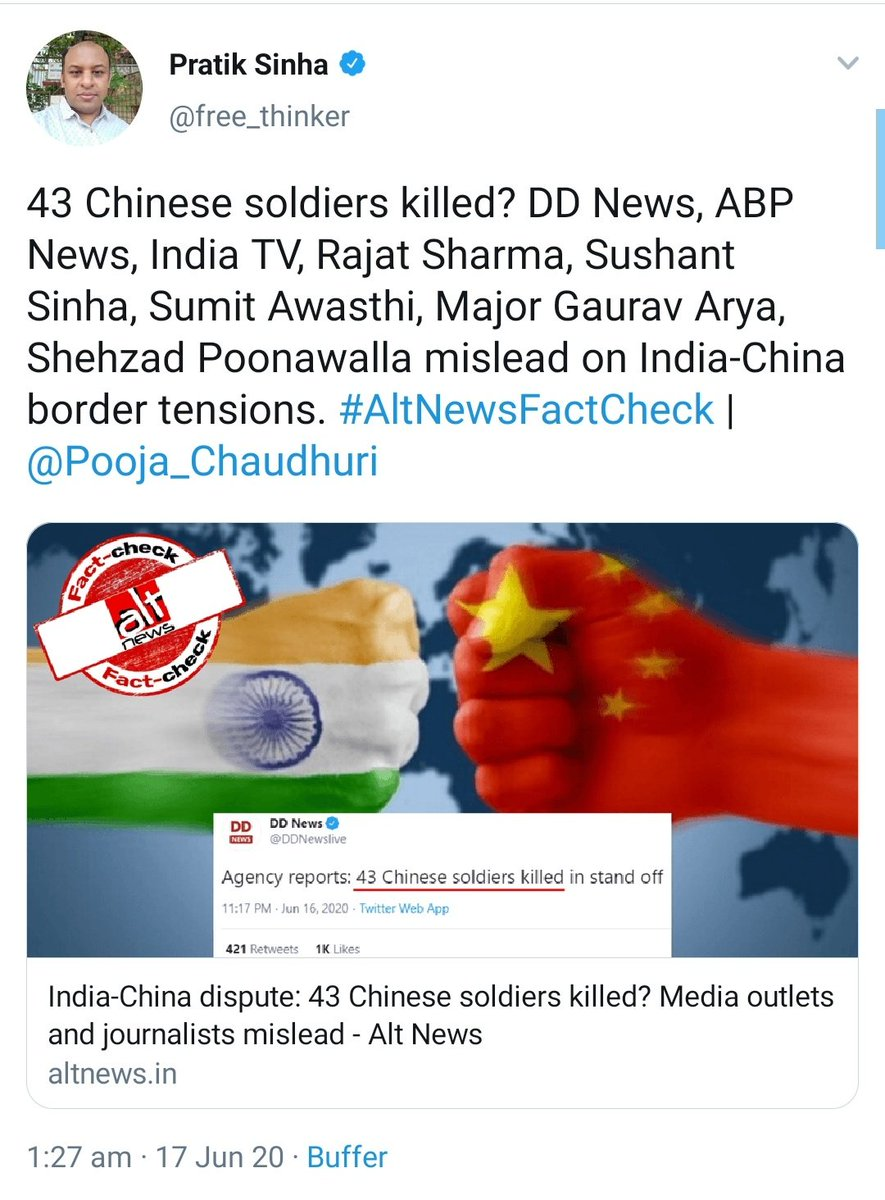 "Ankur Singh on Twitter: ""-China admits casualties but didnt"