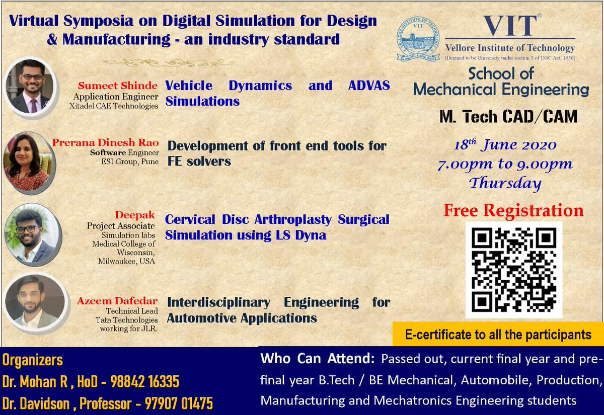 Vit Chennai On Twitter The School Of Mechanical Engineering Vit Chennai Will Be Organising A Virtual Symposium On Digital Simulation For Design And Manufacturing An Industry Standard On Thursday June 18