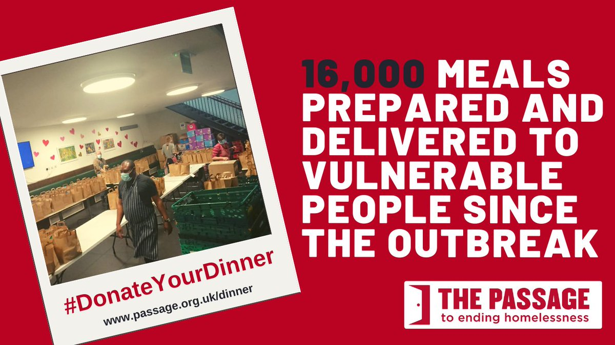 Ensuring vulnerable people have enough to eat is still a big priority. So far weve provided 16,000 meals and we continue to deliver emergency food parcels 7 days a week. Your donation is a lifeline to London's #homeless. Visit passage.org.uk/dinner or call 020 7592 1856