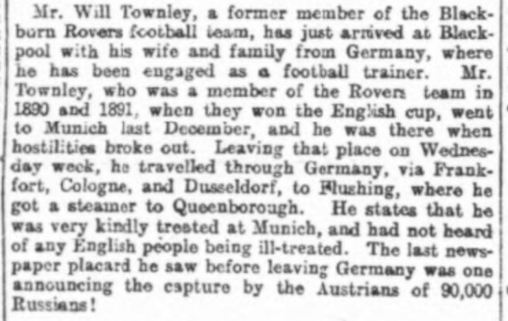 @Maff112 @SpiksleyBook @Karlsruher_FV @KarlsruherSC From what we know, Townley was given safe passage back to England, possibly because he was so revered. Others, like Bloomer etc in Ruhleben weren't so lucky of course.  📰 Birmingham Daily Post (12.09.1914) https://t.co/zJtYEAd4qZ