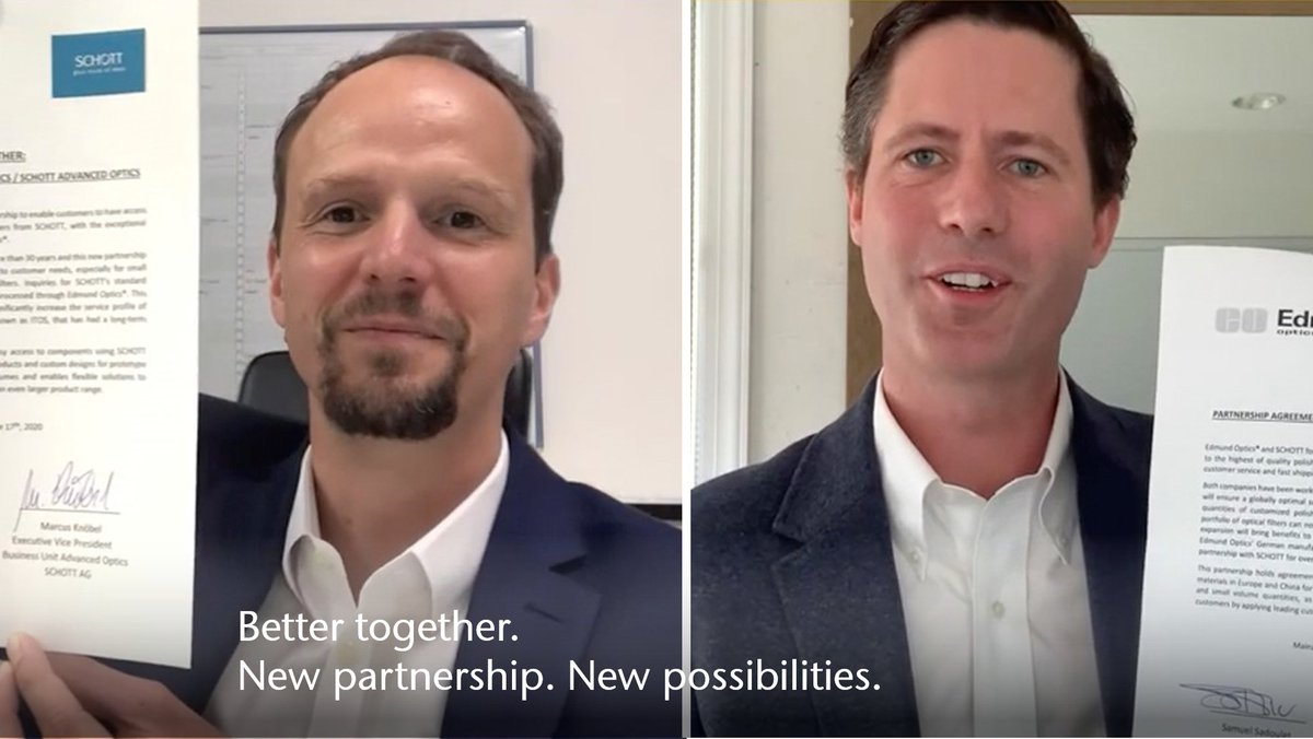 We have expanded our existing cooperation with @EdmundOptics, enabling fast and easy access to polished optical filters. More: https://t.co/oATcXQ1puI #BetterTogether #newPartnership #newPossibilities #opticalfilters #cooperation https://t.co/JQ8KQMV6Xp