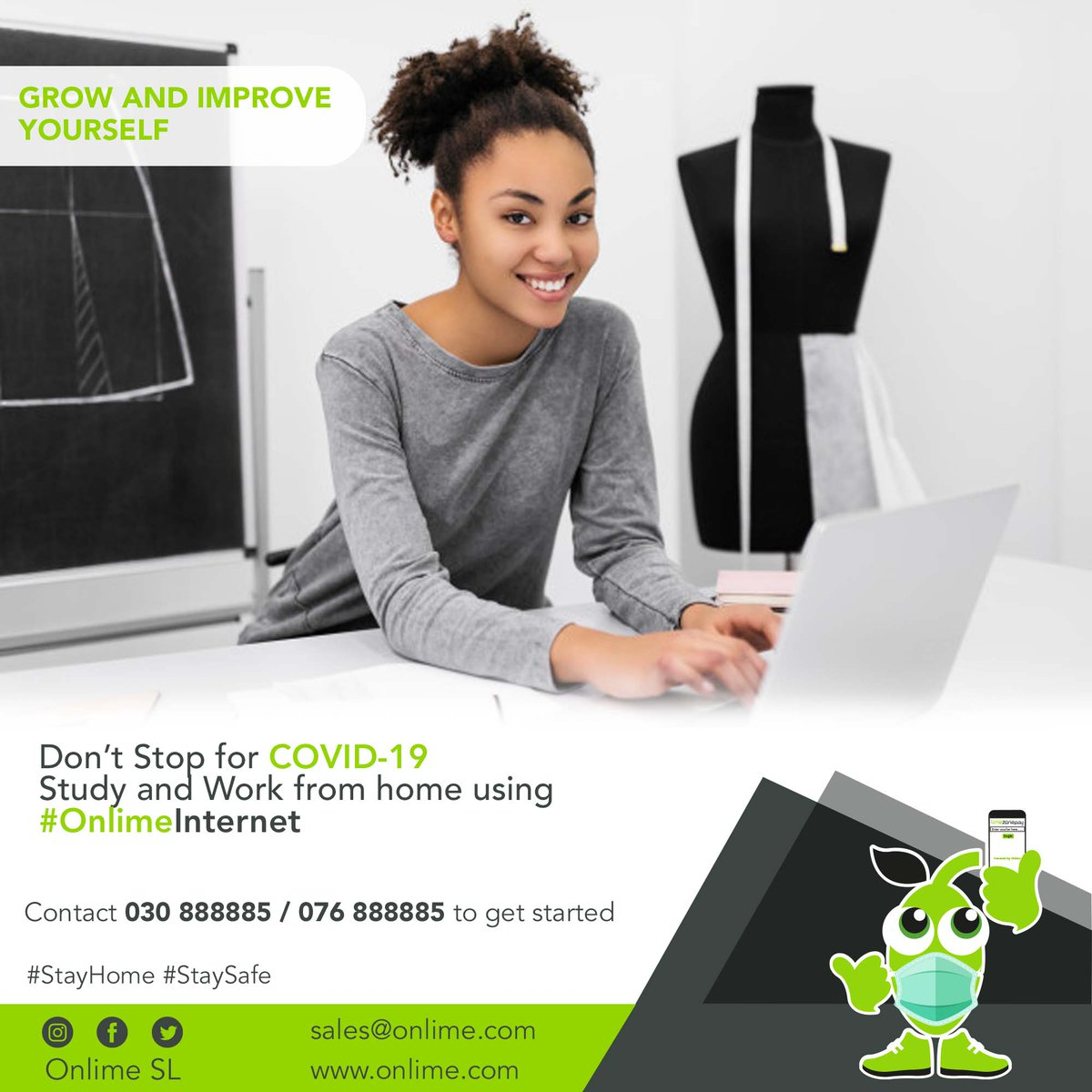 Make working and learning from home more fun with #OnlimeInternet Call 076888885 /030888885 to get started. #SierraLeone #Freetown #SaloneTwitter https://t.co/gzUshIgpmu