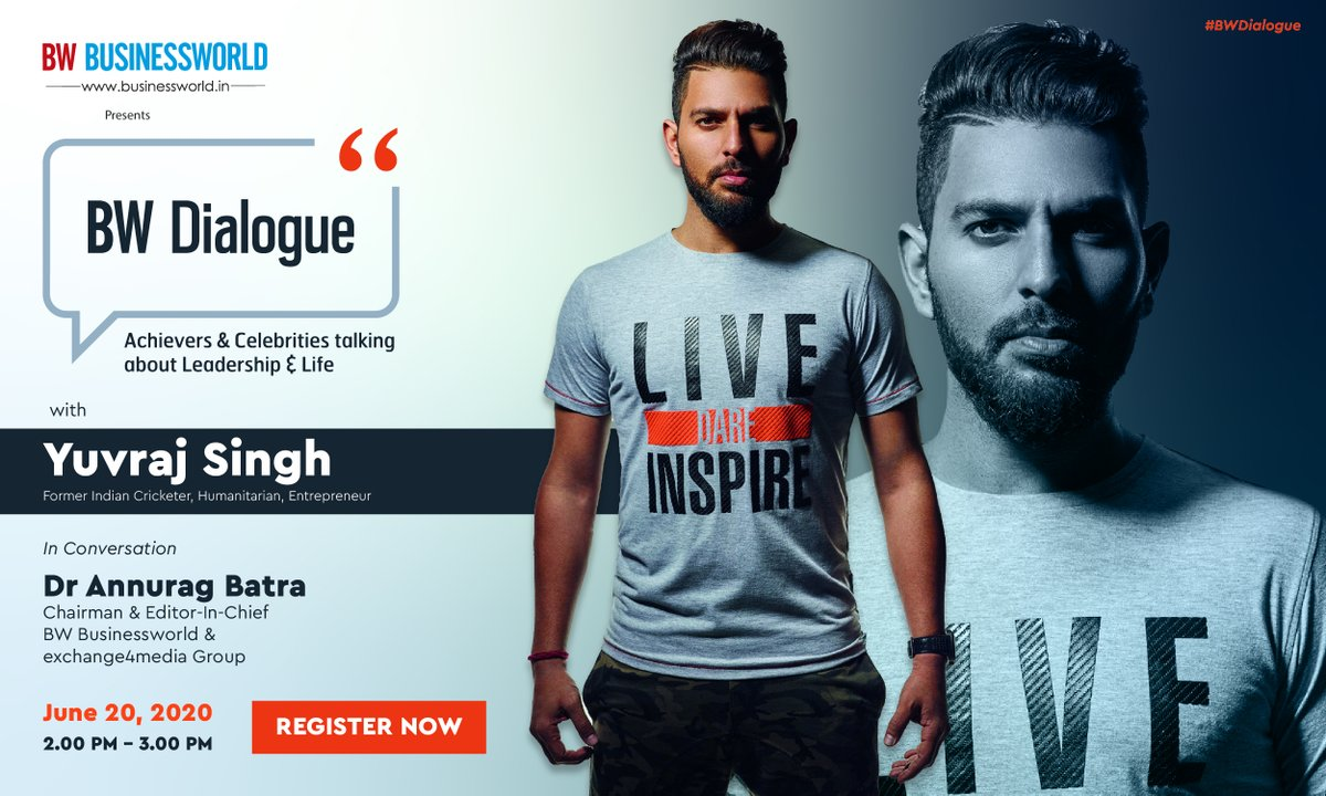 #BWDialogue: @YUVSTRONG12, Former Indian Cricketer, Humanitarian, Entrepreneur & Dr. @anuragbatrayo, Chairman & Editor-in-Chief, @BWBusinessworld  & @e4mtweets.   Watch Live. June 20, 2020   2:00 PM - 3:00 PM  Register Now: https://t.co/tyef0QqtBL  @YOUWECAN https://t.co/z0OcyL1mBW