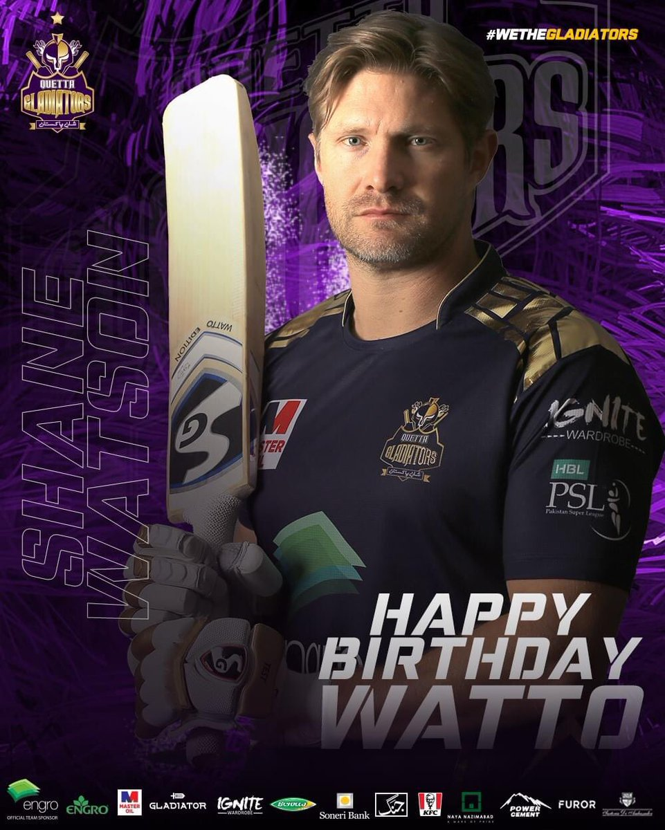 #HappyBirthdayWatto 🥳🥳🥳  Join us in wishing our ultimate Legend 🐐 @ShaneRWatson33 a VERY HAPPY BIRTHDAY!!  🔥8️⃣1️⃣ 6's [THE MOST IN PSL] 😎  🏏4️⃣6️⃣ Games  💥1️⃣3️⃣6️⃣1️⃣ Runs  🌪1️⃣3️⃣8️⃣.9️⃣ Strike Rate  #PurpleForce #WeTheGladiators https://t.co/QFw4NVLBmc