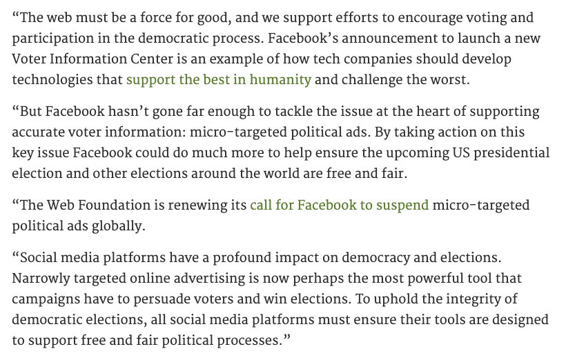 Statement from our Director of Policy, @EmilyCSharpe, on the election information efforts announced today by #Facebook.  Read here: https://t.co/32y8EN3eV7 https://t.co/xZeHevFChq