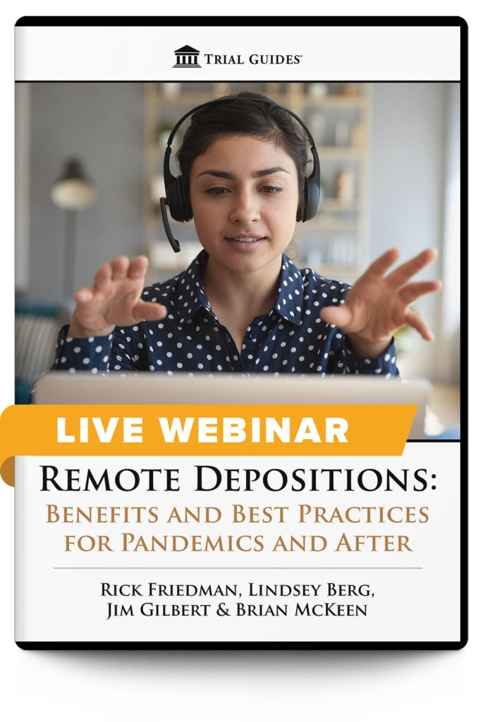 Don't miss out this Friday!  Remote Depositions: Benefits and Best Practices for Pandemics and After - with Rick Friedman, Lindsey Berg, Jim Gilbert and Brian McKeen  June 19, 2020 ♦ 12:30 PM ET ♦ 9:30 AM PT  Register and learn more here: https://t.co/rFbdCc8pe8 https://t.co/Elfnl8E85g