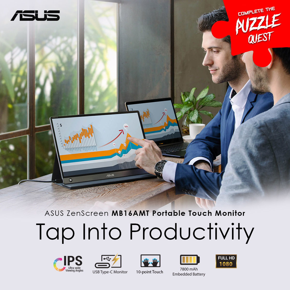 #ASUSPuzzleQuestAnswer  HINT: This slim and lightweight portable monitor with a large 7800mAh built-in battery is designed  take your mobile productivity to new heights.  ANSWER: ASUS ZENSCREEN  MB16AMT  💡 Know more: https://t.co/BWdWwx1ziX   #ASUSROGMonitors https://t.co/oSfKOUyEV1