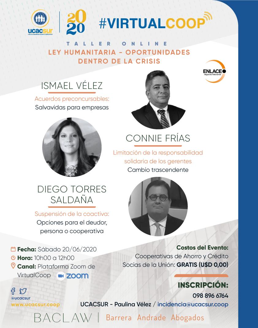 Juntos hacemos Cooperativismo y desde #VirtualCoop invitamos este sábado 20 de junio al Taller On Line: Ley Humanitaria - Oportunidades dentro de la Crisis del #Covid_19  desde las 10h00. Regístrate en incidencia@ucacsur.coop https://t.co/hvM8F0bW7V