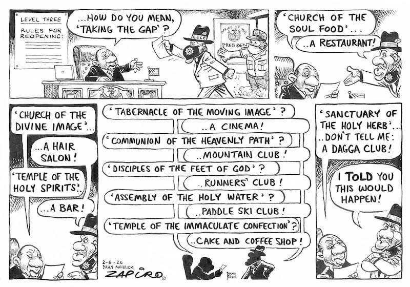 Zapiro  (Daily Maverick)  #LockdownSA  #religiousgatherings