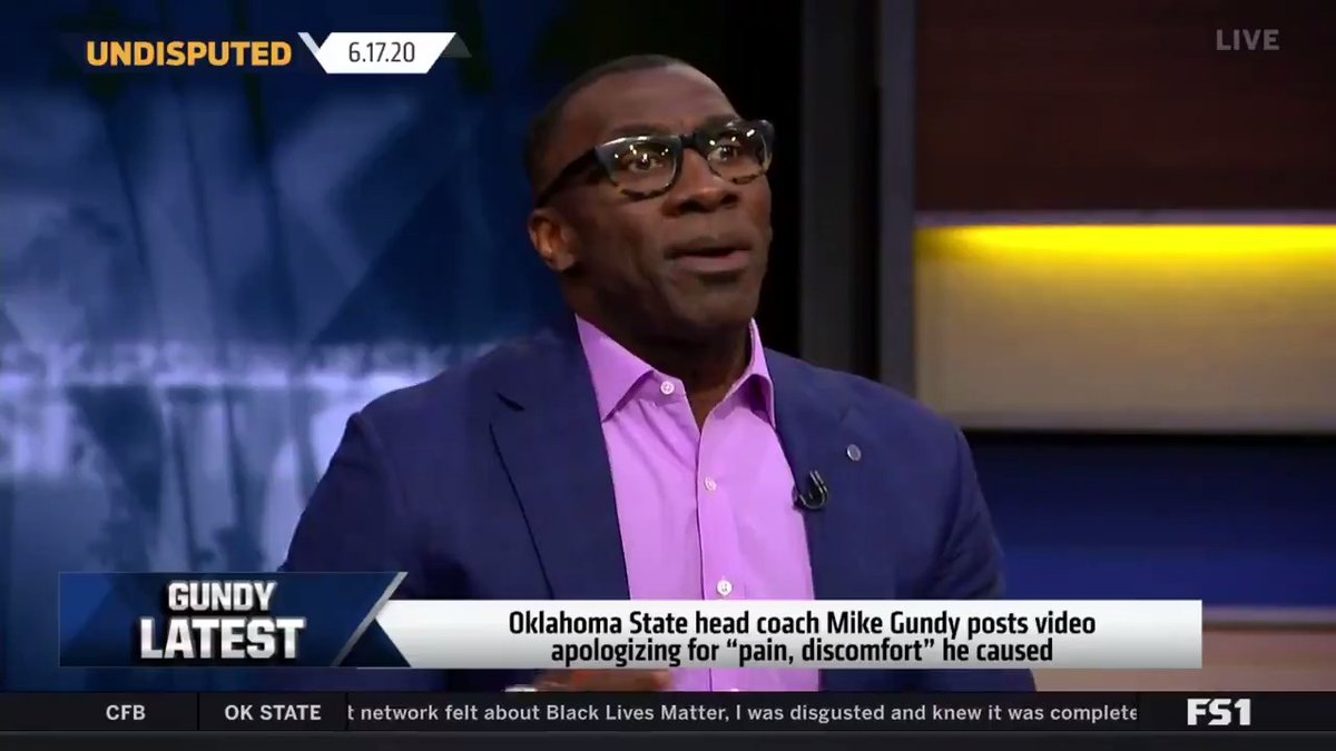 .@ShannonSharpe discusses his call with Alfred Williams, who was reportedly on the receiving end of a racial comment made by Mike Gundy when they were both college players in 1989