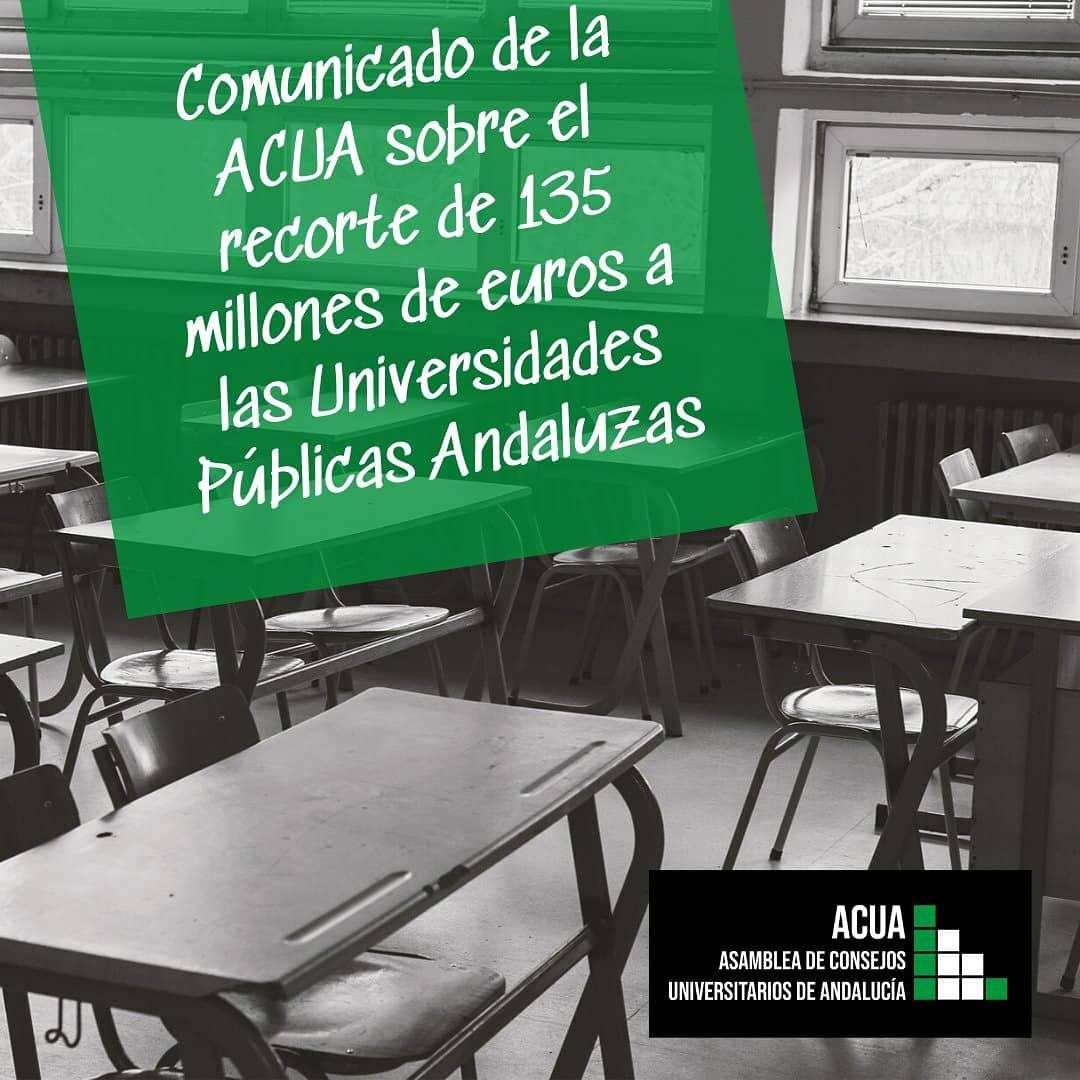 Comunicado Oficial de la Asamblea de Consejos de Andalucía. Por este medio mostramos nuestro rechazo ante el gran recorte que plantea la Junta de Andalucía a las Universidades andaluzas @rogeliovelascop @EconomiaAnd  #SíEsUnRecorte #RogelioManosTijeras #RogelioNoRecortes https://t.co/qzqPrWLNuW