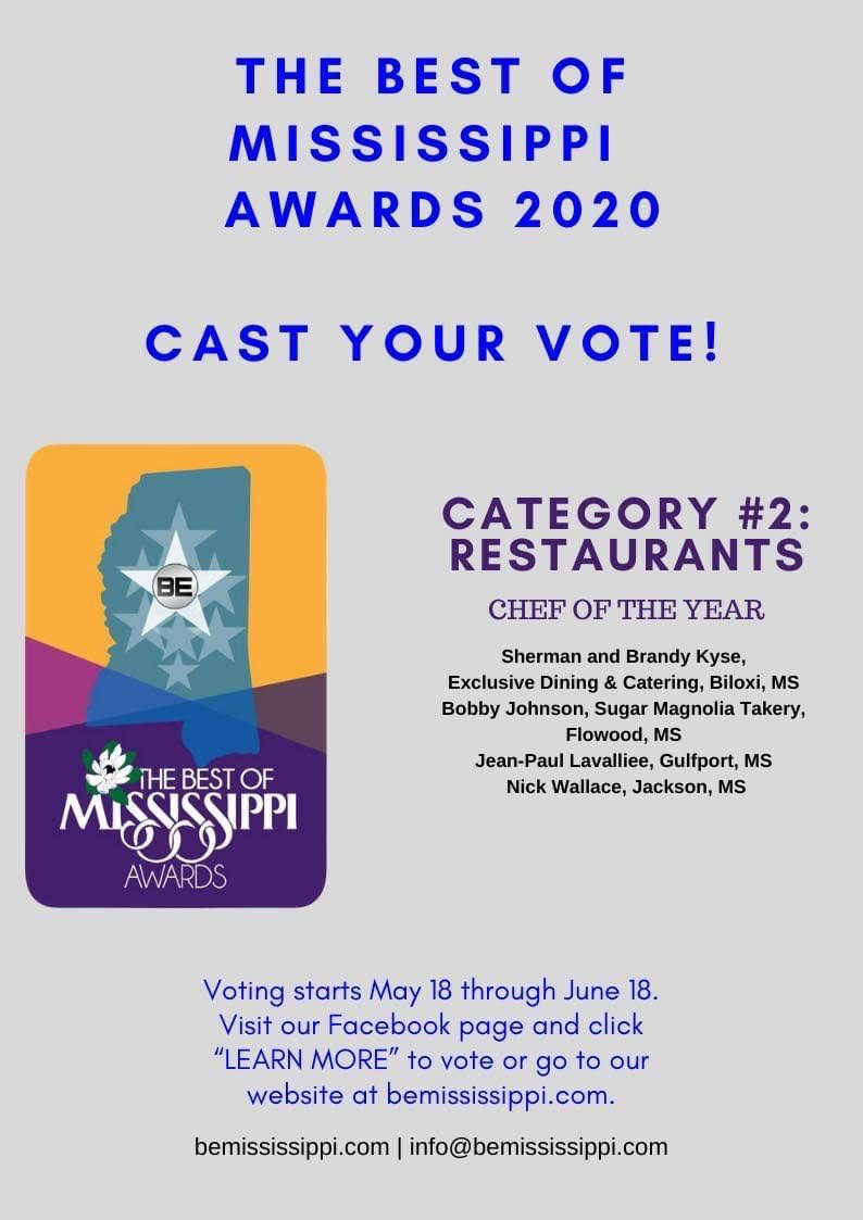 Tomorrow is the last day of voting for Chef of The Year.  I'm getting very excited to see what the results will be.   If you would like to vote, you can do so here https://t.co/7HDkXPZqJB.   Feel free to share and ask others to cast their vote.  #chefoftheyear #bestofmsawards https://t.co/zomLuYEI0r