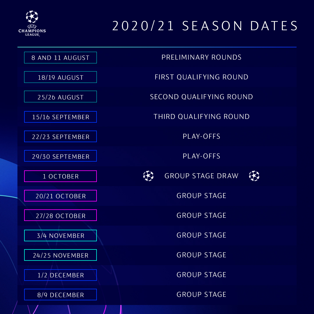 uefa champions league on twitter here s how the 2020 21 ucl season will begin uefa champions league on twitter