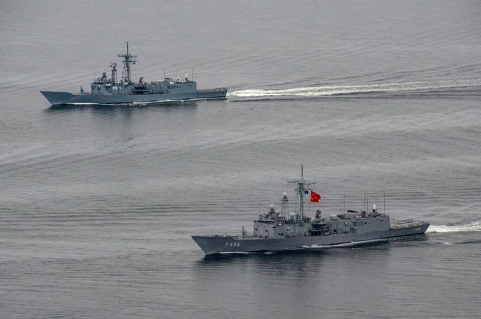 This is an archive image of Turkish Navy TCG Gokova (F-496) which locked on a French Navy Frigate that was trying to intercept Tanzanian flagged and Turkish owned Cirkin Ro-Ro vessel on 10 June 2020. (Image by Turkish Navy)