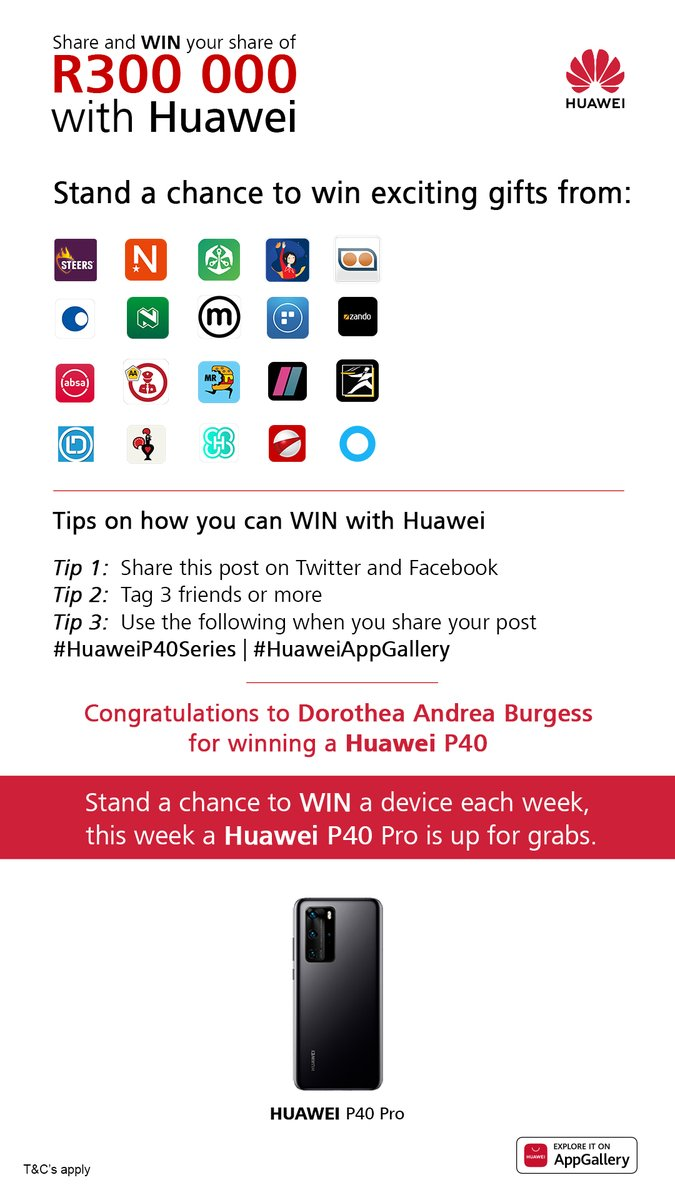Winning has never been easier with Huawei! Just ask Dorothea Andrea Burgess.  There's still a chance for you to be our next winner. Simply RT this post, tag 3 friends using #HuaweiP40Series and #HuaweiAppGallery, and a Huawei P40 Pro could be yours!  T&C Apply. https://t.co/GhH5OwlSo1
