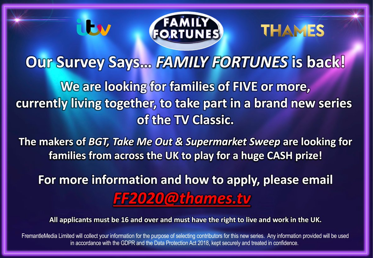 Family Fortunes is BACK! We're looking for families from all over the UK to take part in a brand new series. Email FF2020@thames.tv to find out how to apply. https://t.co/ujJcKE5IAO