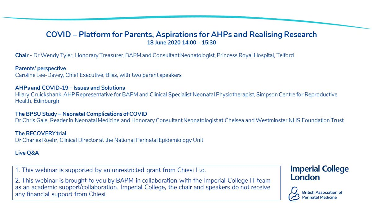 There's still time to book onto tomorrow's 2pm webinar.  We are hearing from @carolinemdavey and 2 parent speakers, @HilaryC8 on AHPs, @DrCGale with a BPSU update and @ccroehr is telling us about the RECOVERY Trial.  Book now: https://t.co/XNE4wm85ne https://t.co/XnMBoviprv