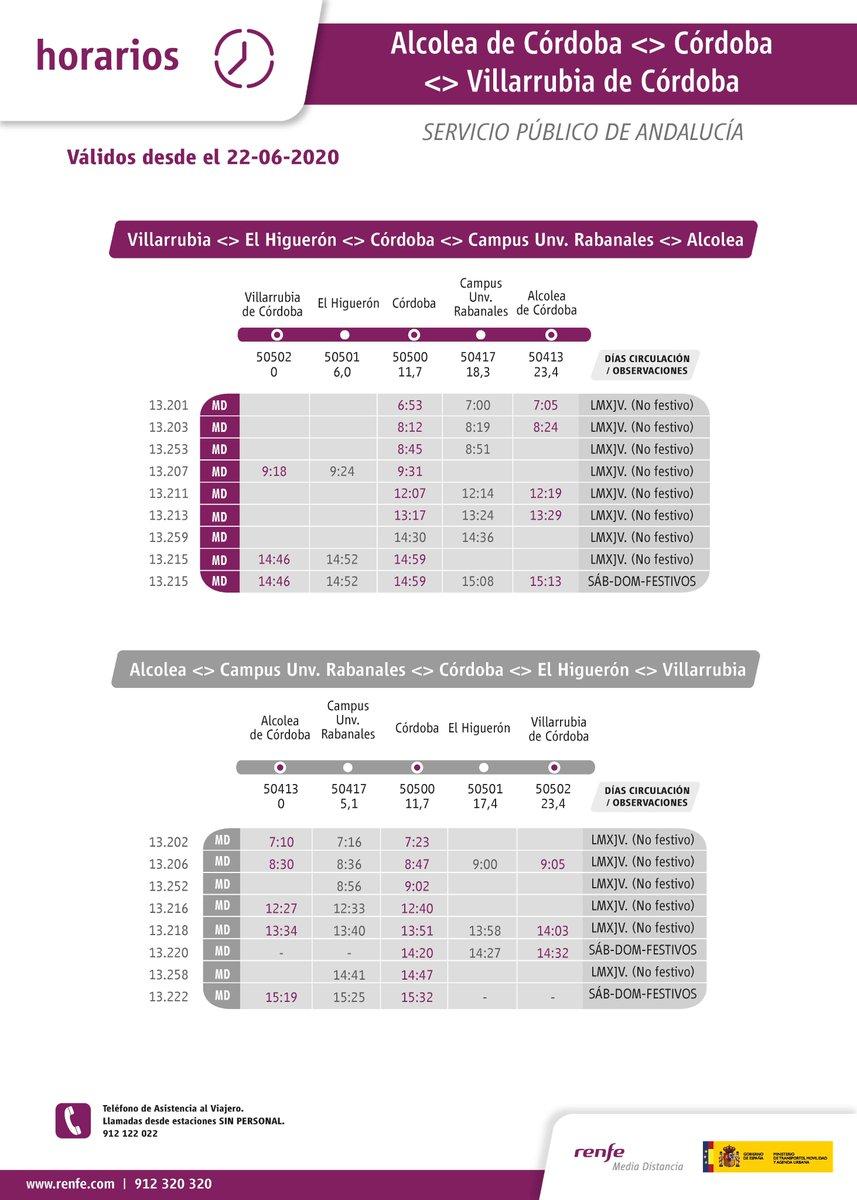 Horarios de cercanías válidos desde el 22-06-2020 @Renfe @ConsejoCiencias https://t.co/TVEgtP5haj