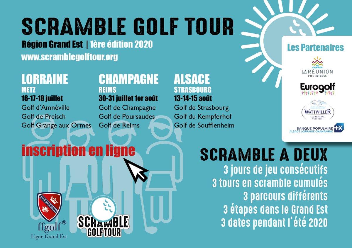 [Partenariat] 🏌 Vous êtes amateurs de golf ? Participez au Scramble Golf Tour, organisé par la Ligue de Golf Grand Est, il se déroule sur 3 spots : Metz, Reims et Strasbourg. Renseignements et inscriptions 👉 https://t.co/pEke78SyQZ https://t.co/1QGbI2xKZG