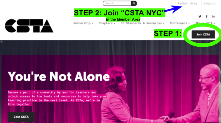 """NEWS: The NYC @csteachersorg chapter is moving platforms from Meetup to CSTA's membership site!  1. Join CSTA at https://t.co/ze7ix0491W 2. Select """"CSTA NYC"""" in the Member Area  #cs4allnyc @diane_levitt @csnyc @CSforAllNYC @UpperlineCode @ed_saber @learningdrive @ronsummersnyc https://t.co/5KBHeErZPT"""