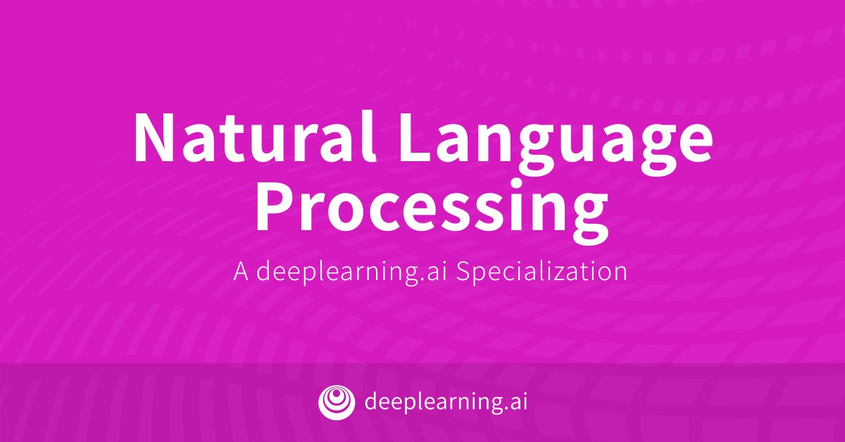 Our new Natural Language Processing Specialization's first two courses are now on @Coursera! You'll build your technical foundations and work on projects ranging from sentiment analysis to language modeling to autocomplete. Check it out: coursera.org/specialization…