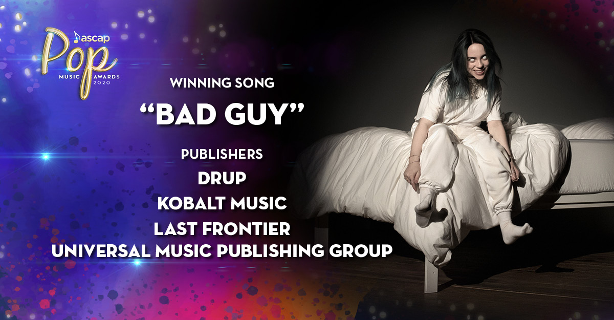 And cheers to our #BadGuy publishers @billieeilish, @kobalt, @finneas & @UMPG #ASCAPAwards<br>http://pic.twitter.com/rKl1rphC4q