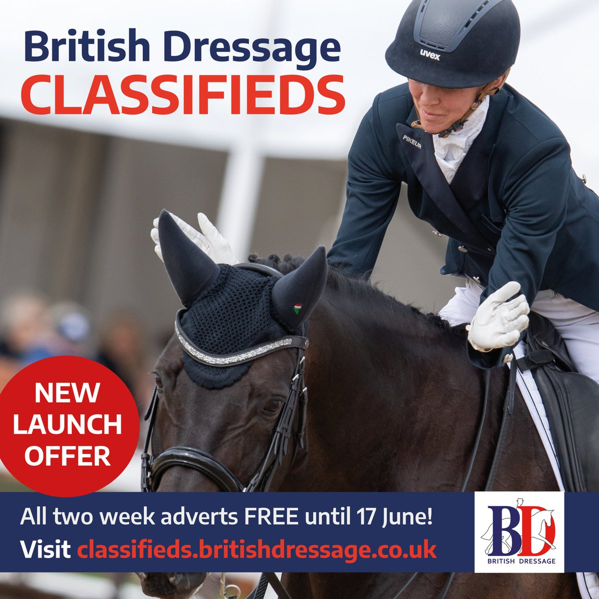 There's just hours left to make the most of our British Dressage Classifieds launch offer 💥  Until midnight we're giving you the chance to advertise for FREE! Login, upload your advert and make the most of our complimentary two week deal 😍  https://t.co/OCSZHFZgYO https://t.co/wdshfE2v7e