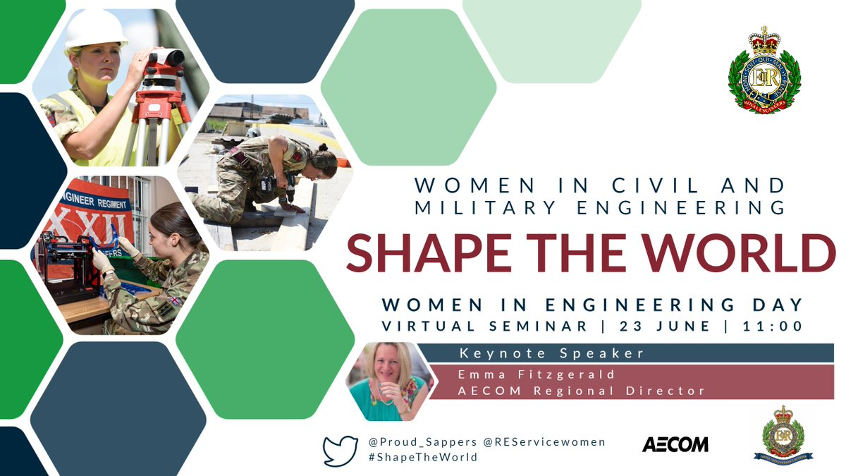 #ShapeTheWorld: Women in Civil and Military Engineering  Join @REServicewomen and award-winning @AECOM engineer Emma Fitzgerald, for a virtual seminar this Women in Engineering Day.  📅 Tuesday 23 June, 11:00-12:30  FREE & open to all. Register 👉https://t.co/DERO5C3bQ8 #INWED20 https://t.co/F4pmR82YLV