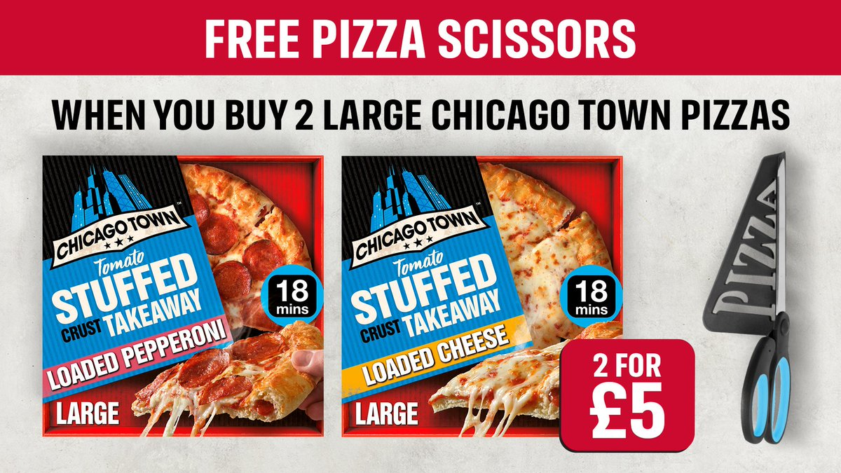 Football's back today!⚽  Grab 2 Chicago Town Large Takeaway Pizzas for tonight's game and you'll get FREE pizza scissors to give you a perfect slice of the action.   That's what we call match-day goals 🥅  https://t.co/8ppwQHCL4t https://t.co/EXjY0NoVLO